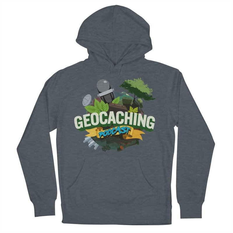 GCPC Logo in Men's French Terry Pullover Hoody Heather Navy Denim by Geocaching Podcast Shop
