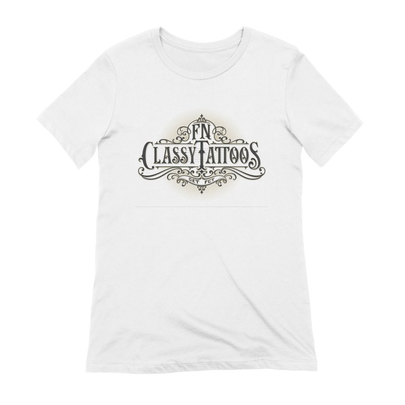 FN Classy Logo White Women's Extra Soft T-Shirt by FN CLASSY STUFF FOR FN CLASSY PEOPLE