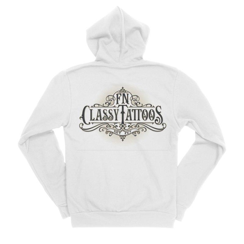 FN Classy Logo White Men's Sponge Fleece Zip-Up Hoody by FN CLASSY STUFF FOR FN CLASSY PEOPLE