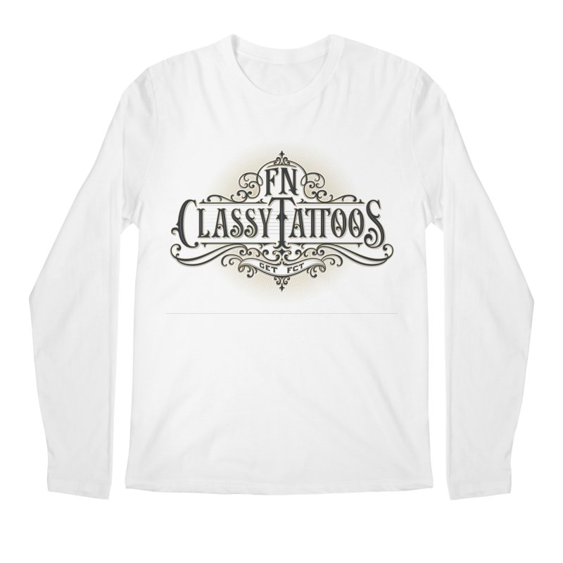 FN Classy Logo White Men's Regular Longsleeve T-Shirt by FN CLASSY STUFF FOR FN CLASSY PEOPLE