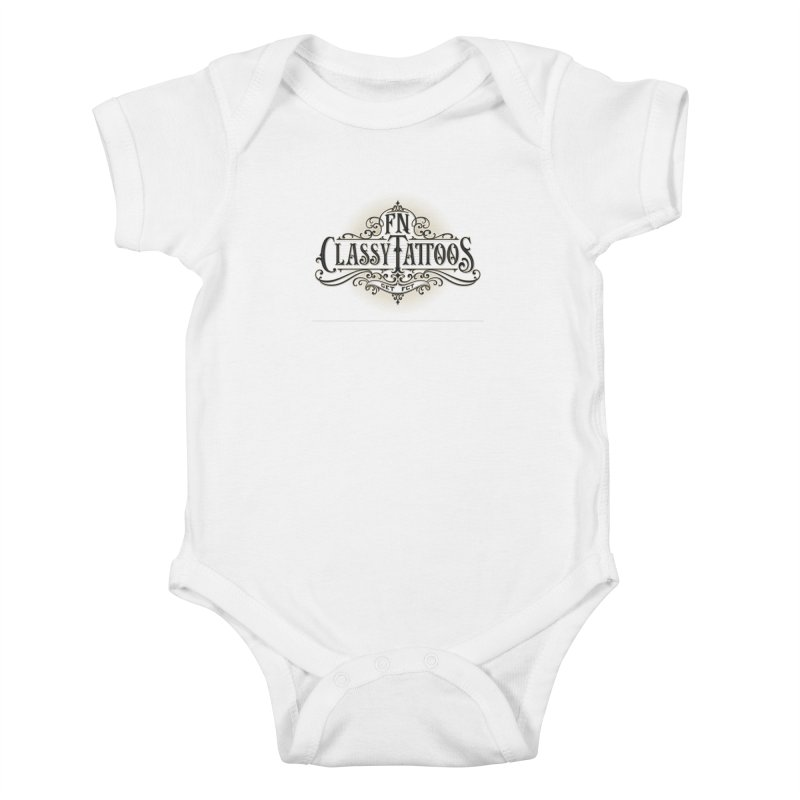 FN Classy Logo White Kids Baby Bodysuit by FN CLASSY STUFF FOR FN CLASSY PEOPLE