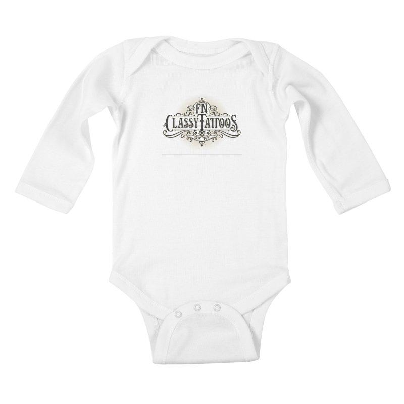 FN Classy Logo White Kids Baby Longsleeve Bodysuit by FN CLASSY STUFF FOR FN CLASSY PEOPLE