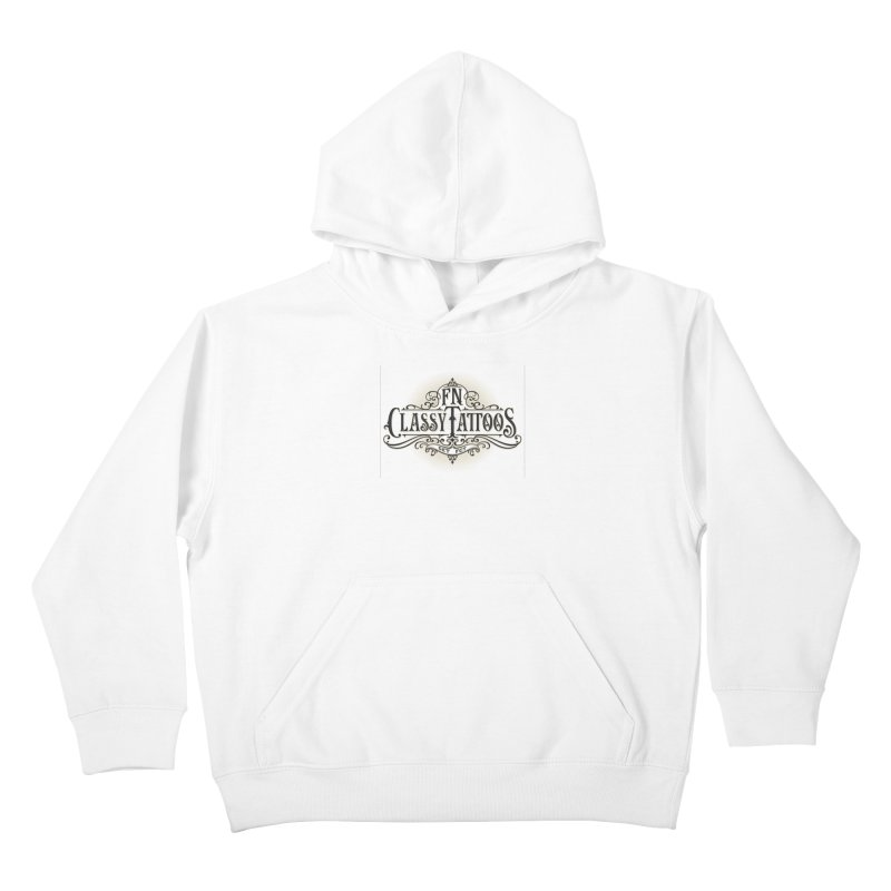 FN Classy Logo White Kids Pullover Hoody by FN CLASSY STUFF FOR FN CLASSY PEOPLE