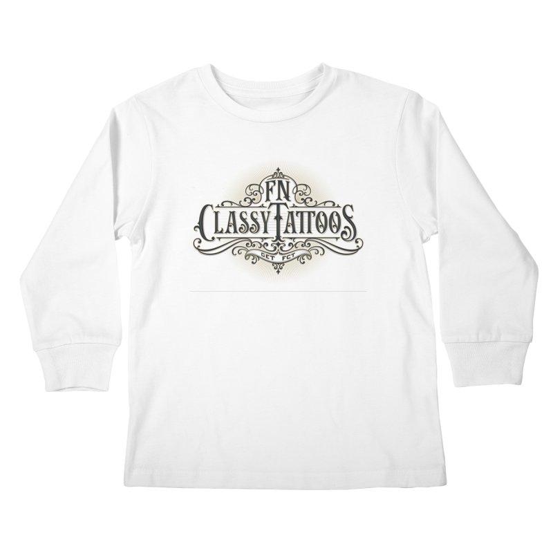FN Classy Logo White Kids Longsleeve T-Shirt by FN CLASSY STUFF FOR FN CLASSY PEOPLE