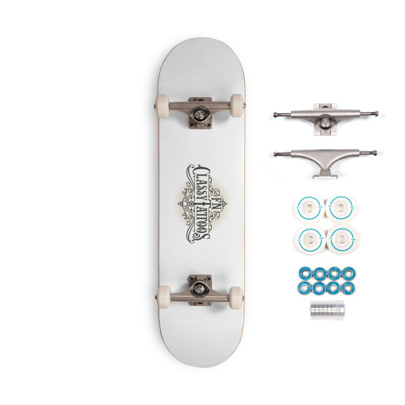 FN Classy Logo White Accessories Complete - Basic Skateboard by FN CLASSY STUFF FOR FN CLASSY PEOPLE