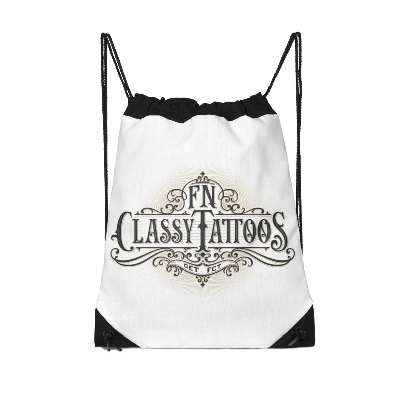 FN Classy Logo White Accessories Drawstring Bag Bag by FN CLASSY STUFF FOR FN CLASSY PEOPLE
