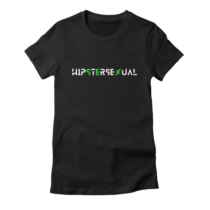 Hipstersexual Logo White & Green Women's Fitted T-Shirt by Get Funkked