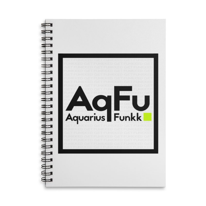 AqFu Element Black on White Accessories Lined Spiral Notebook by Get Funkked