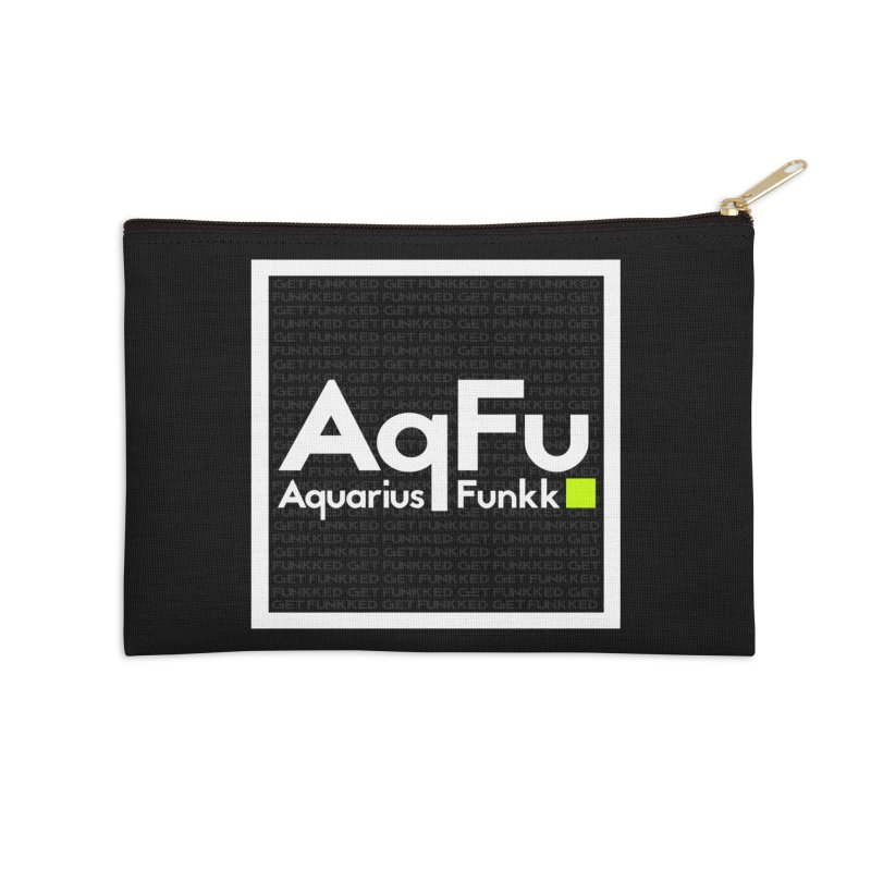 AqFu Element White on Black Accessories Zip Pouch by Get Funkked