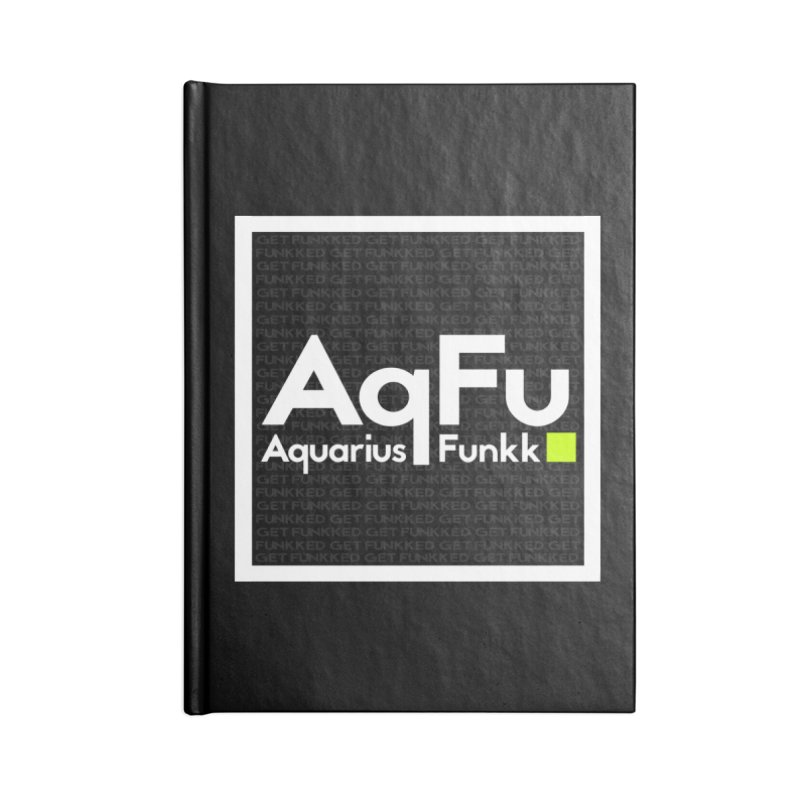 AqFu Element White on Black Accessories Blank Journal Notebook by Get Funkked