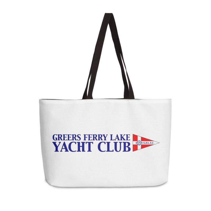 Club Bergee Text in Weekender Bag by Greers Ferry Lake Yacht Club