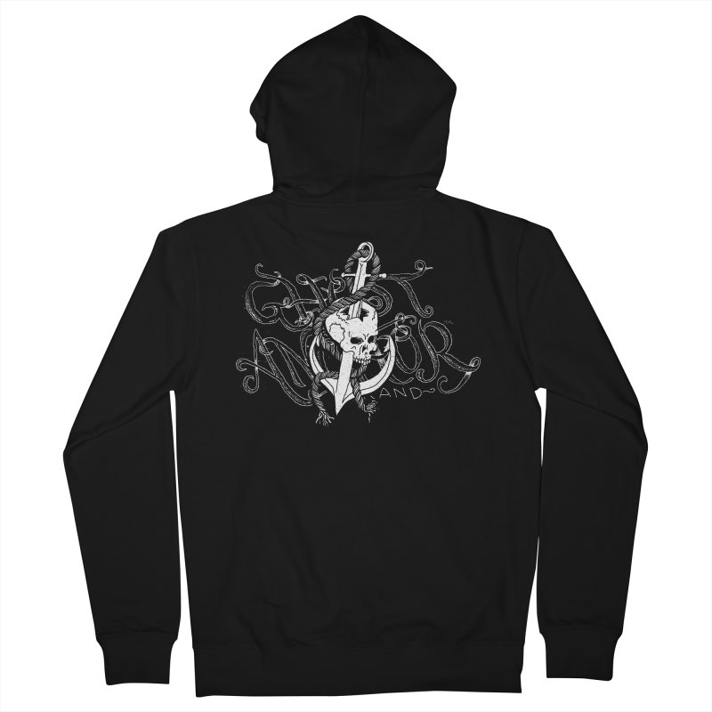 Ghost Anchor - Pierced Skull Logo Women's French Terry Zip-Up Hoody by GHOST ANCHOR BRAND
