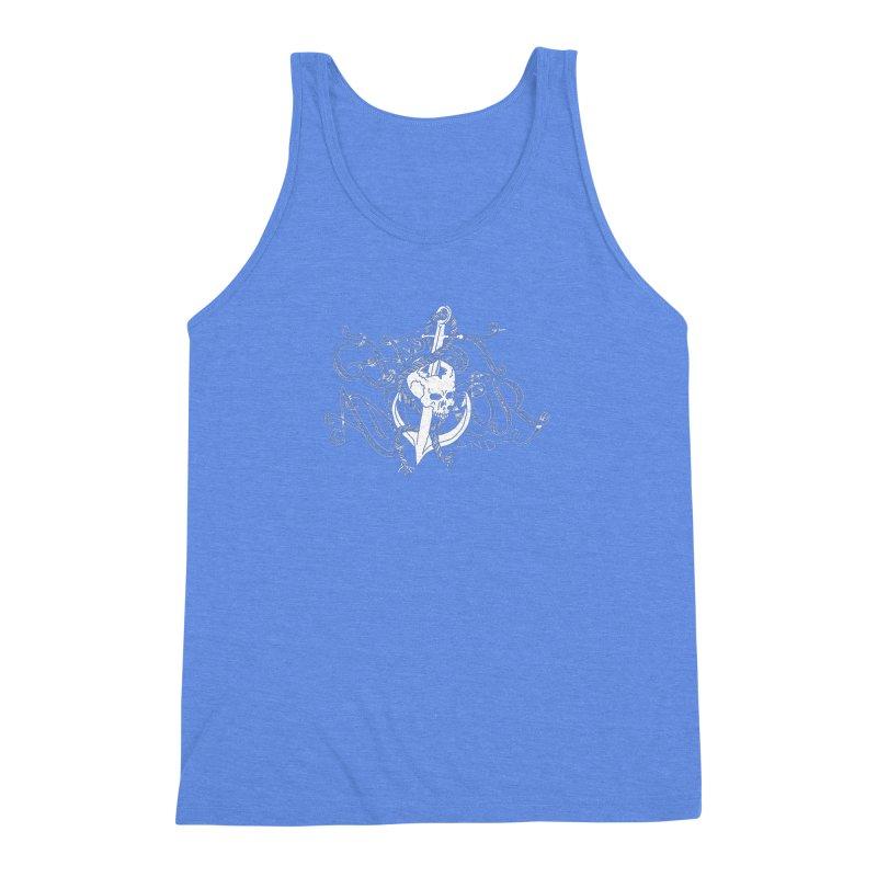 Ghost Anchor - Pierced Skull Logo Men's Triblend Tank by GHOST ANCHOR BRAND
