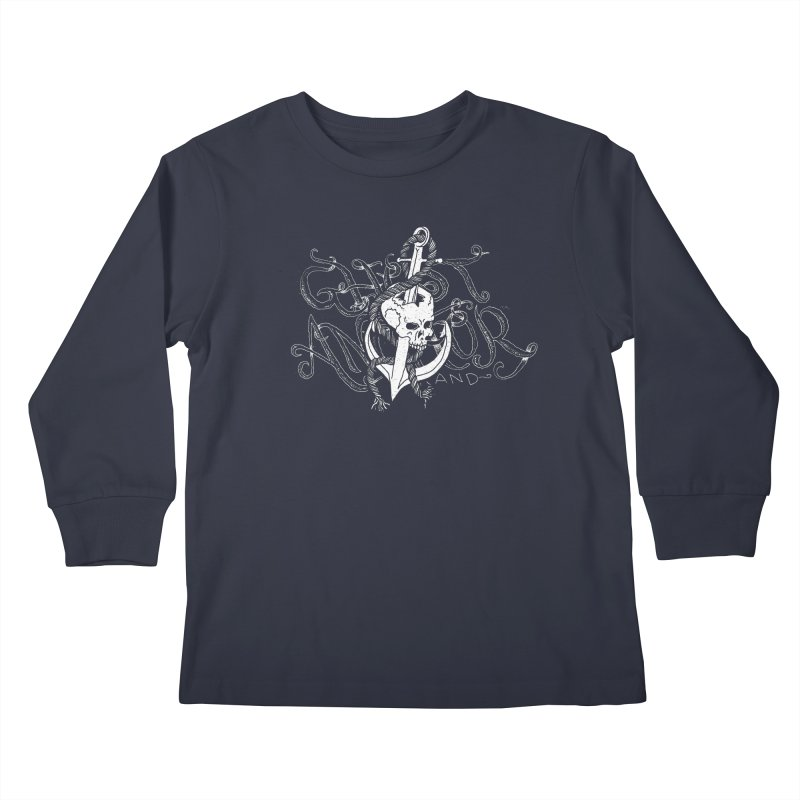 Ghost Anchor - Pierced Skull Logo Kids Longsleeve T-Shirt by GHOST ANCHOR BRAND