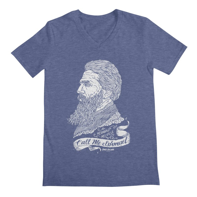 Call Me Ishmael Men's Regular V-Neck by GHOST ANCHOR BRAND