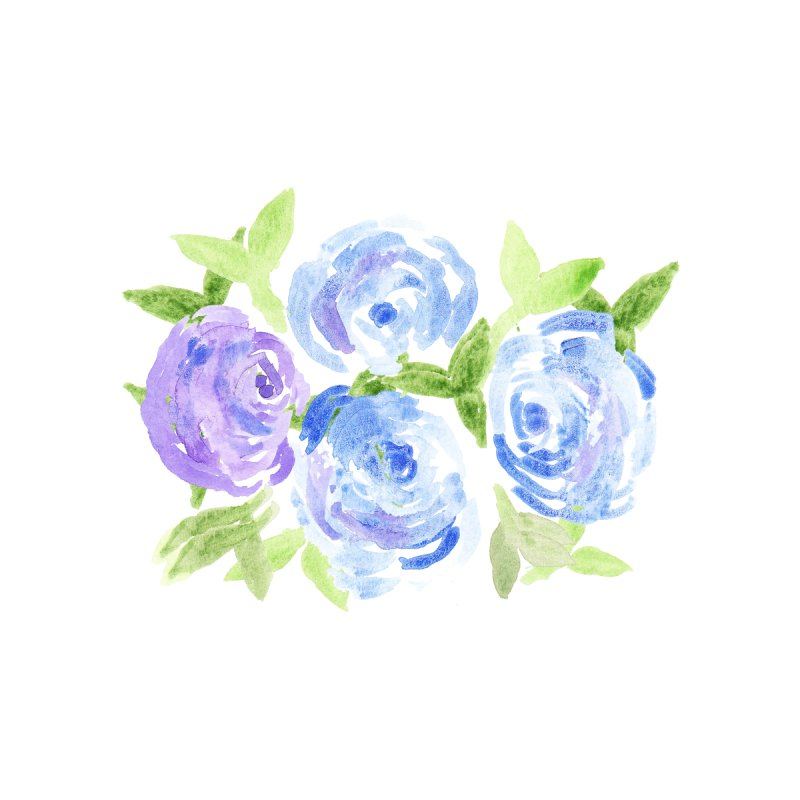Purple and blue camellias by Gillian Lancaster Art's Artist Shop