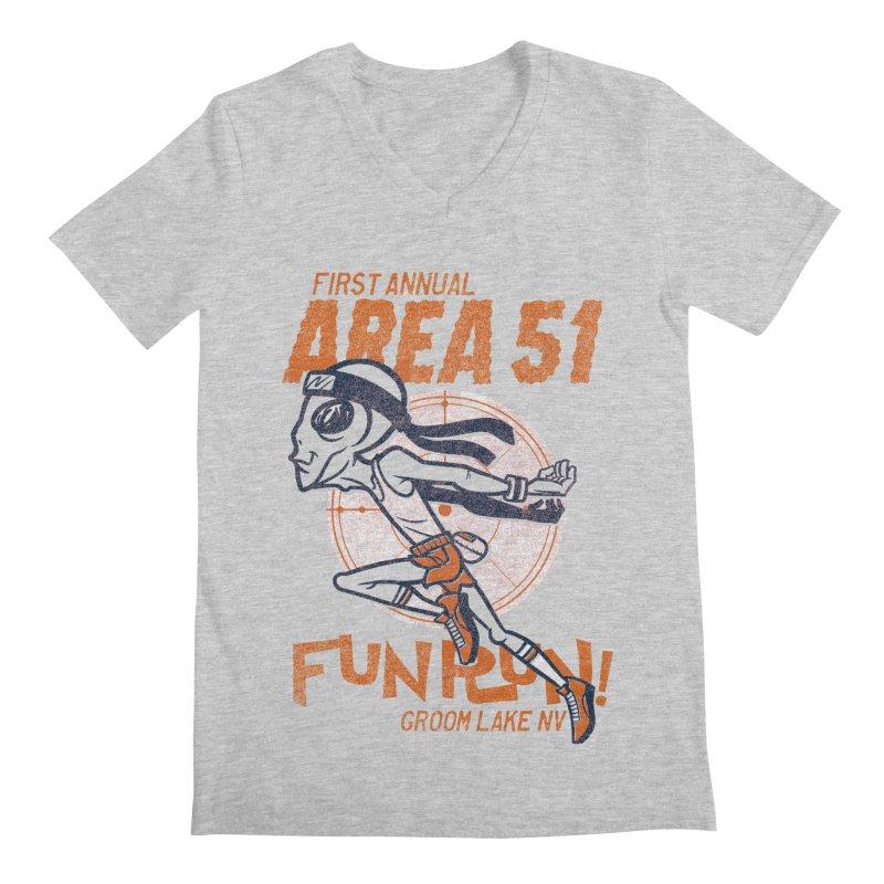 Area 51 Fun Run! Men's Regular V-Neck by Gimetzco's Damaged Goods