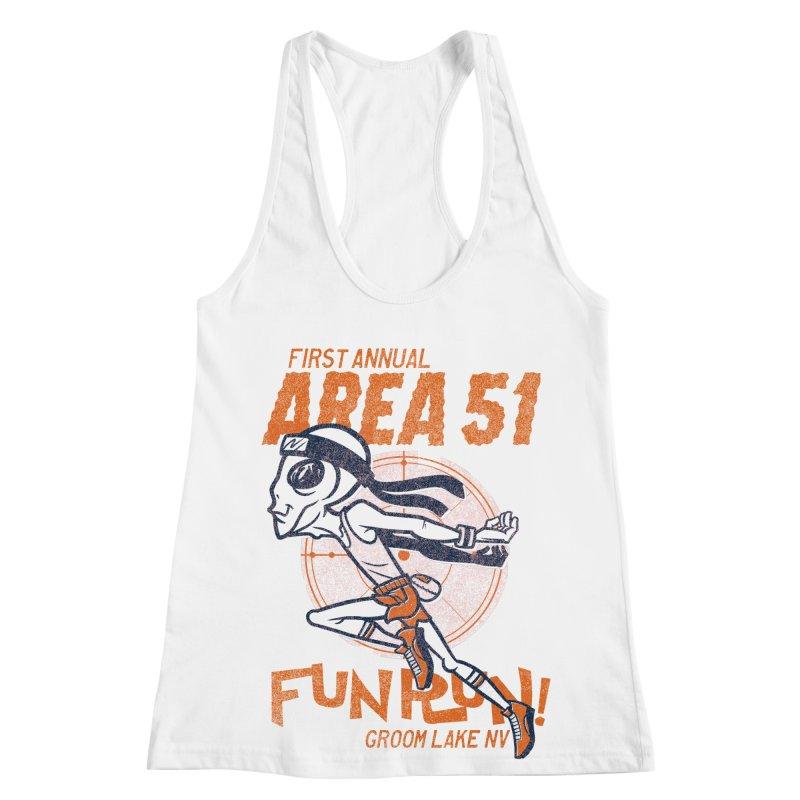 Area 51 Fun Run! Women's Racerback Tank by Gimetzco's Damaged Goods