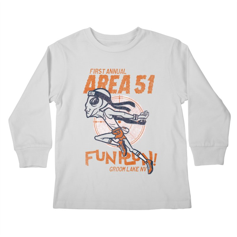 Area 51 Fun Run! Kids Longsleeve T-Shirt by Gimetzco's Damaged Goods