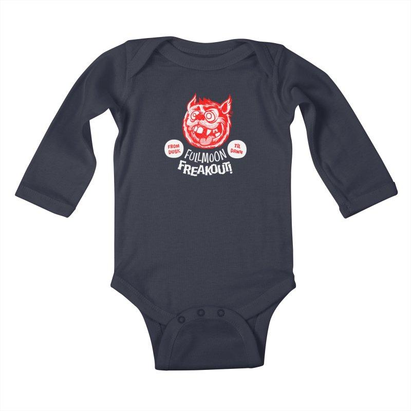 Fullmoon Freakout Kids Baby Longsleeve Bodysuit by Gimetzco's Damaged Goods