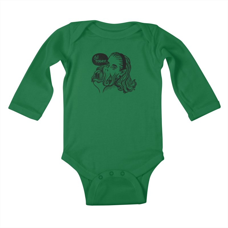 Callthulhu Kids Baby Longsleeve Bodysuit by Gimetzco's Damaged Goods
