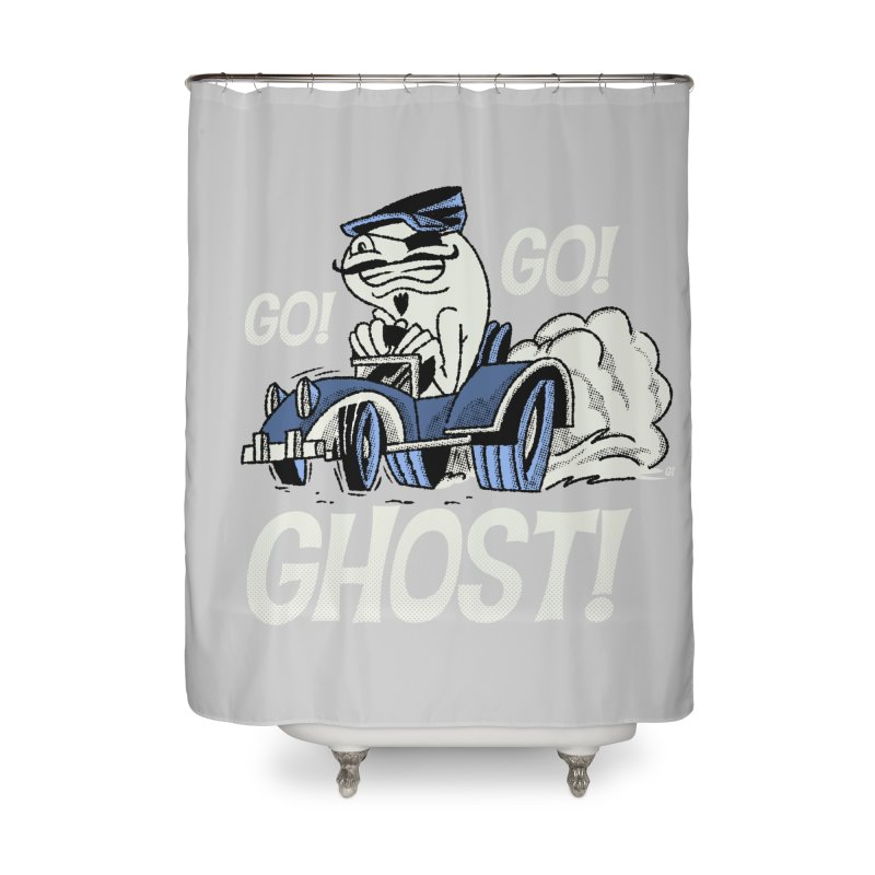 Go! Go! Ghost! Home Shower Curtain by Gimetzco's Damaged Goods