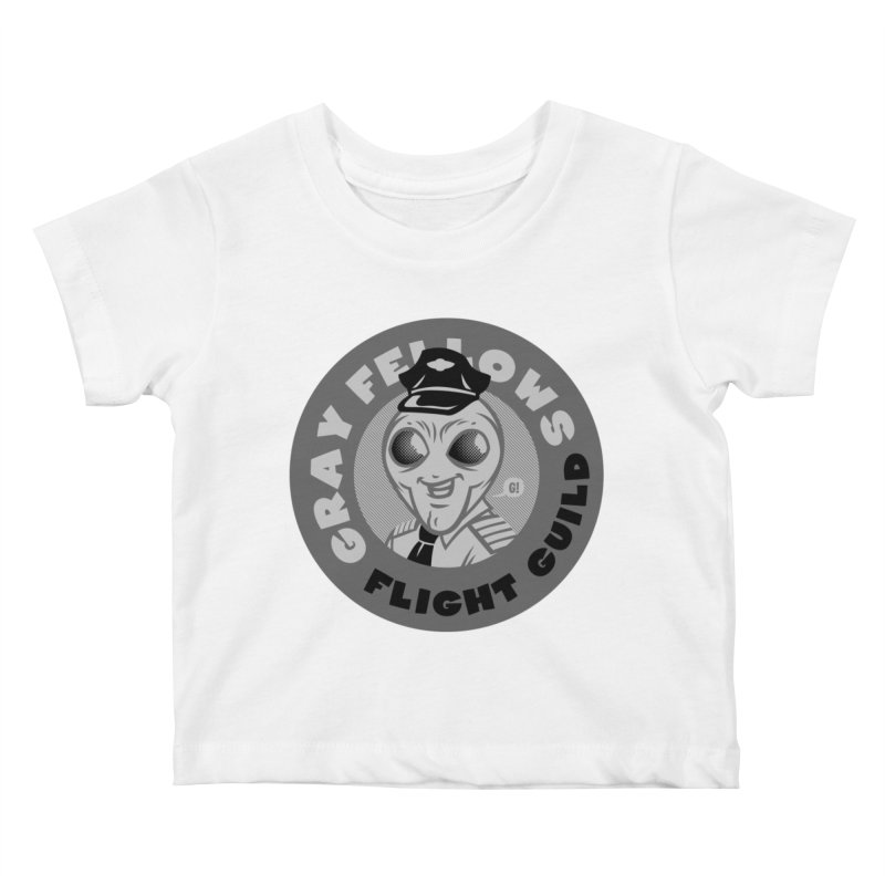 GRAY FELLOWS FLIGHT GUILD Kids Baby T-Shirt by Gimetzco's Damaged Goods