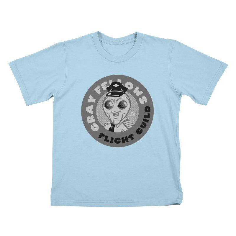 GRAY FELLOWS FLIGHT GUILD Kids T-Shirt by Gimetzco's Damaged Goods