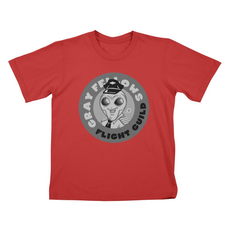 GRAY FELLOWS FLIGHT GUILD Kids T-Shirt by Gimetzco's Damaged Goods