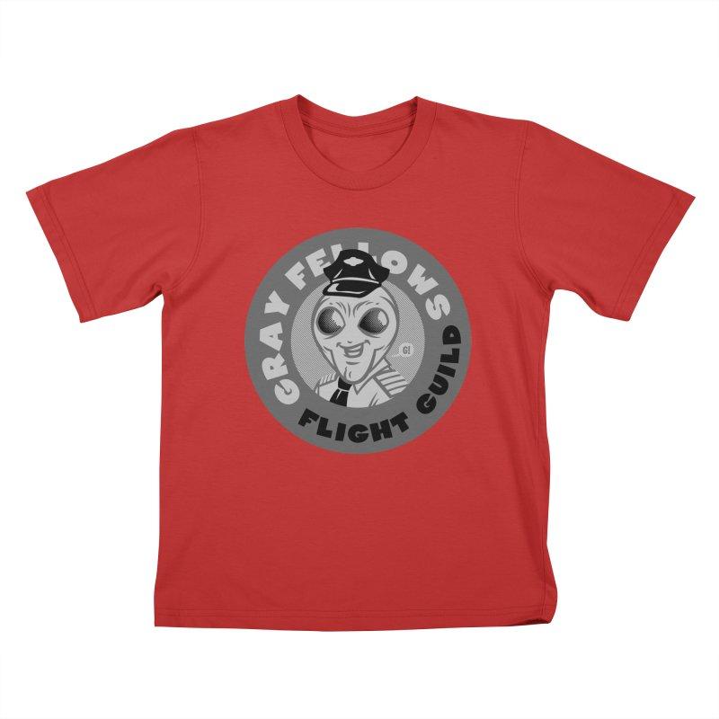 GRAY FELLOWS FLIGHT GUILD Kids T-Shirt by Gimetzco's Artist Shop