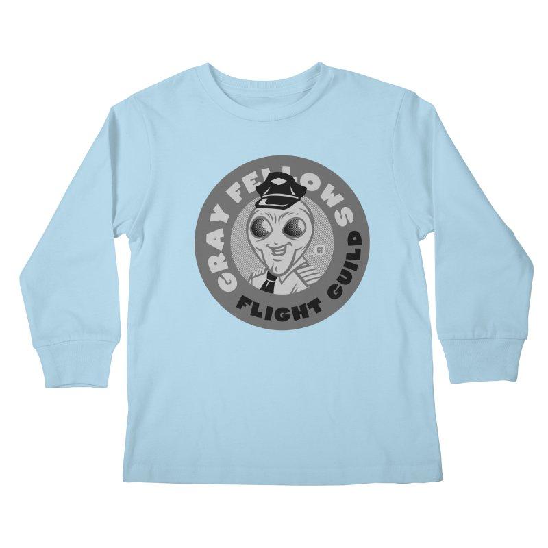 GRAY FELLOWS FLIGHT GUILD Kids Longsleeve T-Shirt by Gimetzco's Artist Shop