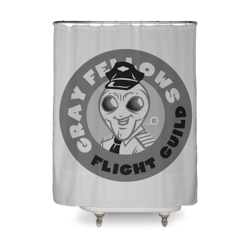 GRAY FELLOWS FLIGHT GUILD Home Shower Curtain by Gimetzco's Damaged Goods