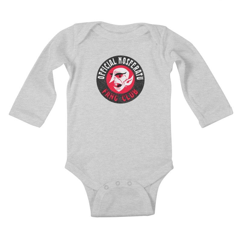 Nosferatu Fang Club Kids Baby Longsleeve Bodysuit by Gimetzco's Damaged Goods