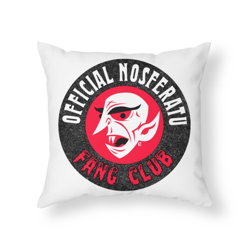 Nosferatu Fang Club Home Throw Pillow by Gimetzco's Damaged Goods
