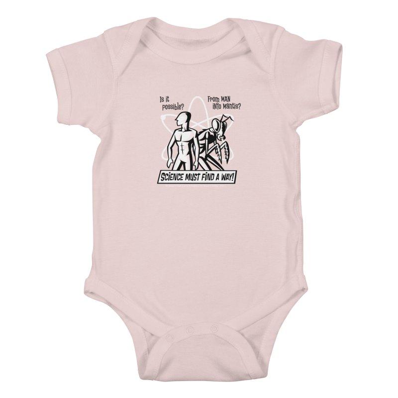 Man into Mantis? Kids Baby Bodysuit by Gimetzco's Damaged Goods