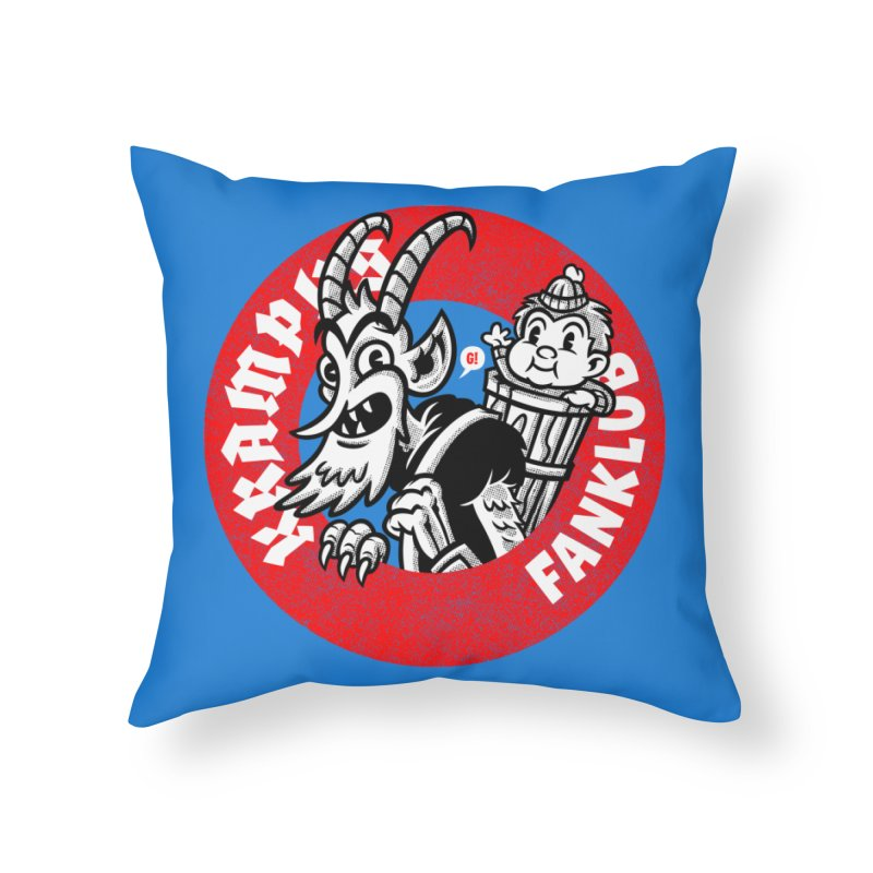 KRAMPUS FANKLUB Home Throw Pillow by Gimetzco's Damaged Goods