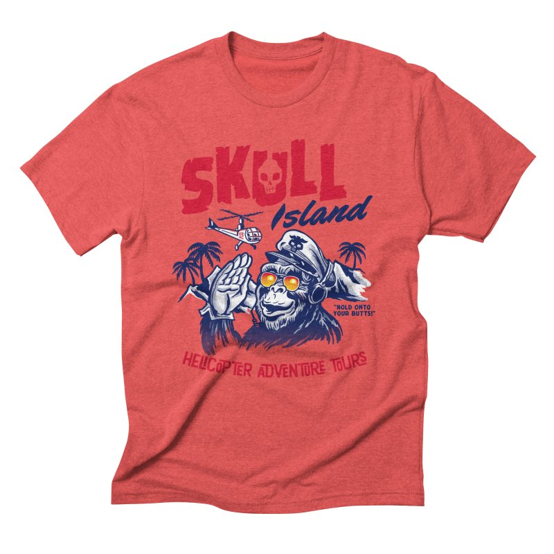 Skull Island Helicopter Adventure Tours Men's Triblend T-Shirt by Gimetzco's Damaged Goods