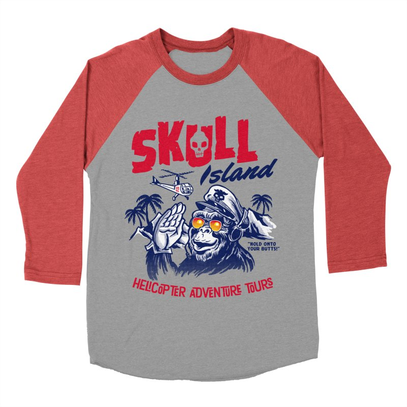 Skull Island Helicopter Adventure Tours Women's Baseball Triblend T-Shirt by Gimetzco's Damaged Goods