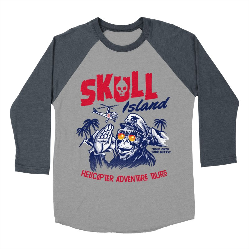 Skull Island Helicopter Adventure Tours Men's Baseball Triblend T-Shirt by Gimetzco's Damaged Goods