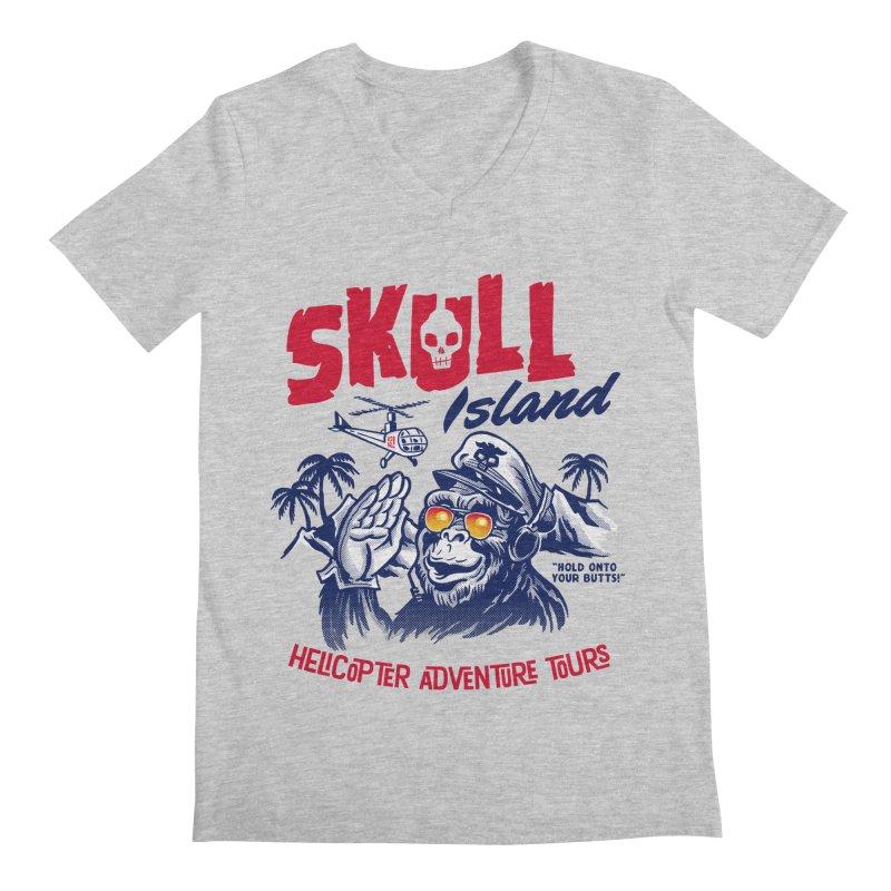 Skull Island Helicopter Adventure Tours Men's V-Neck by Gimetzco's Artist Shop