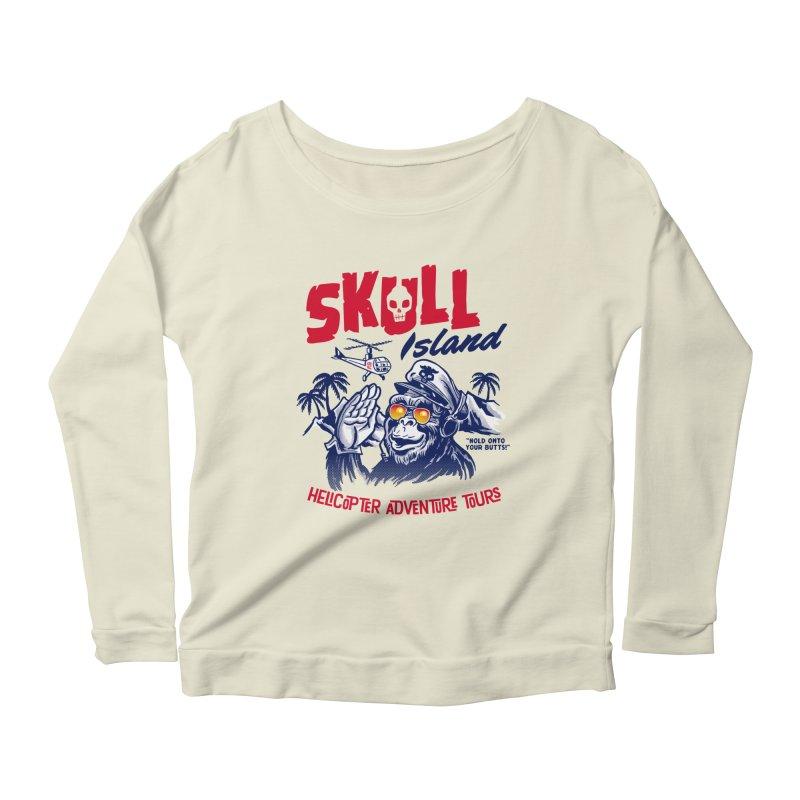 Skull Island Helicopter Adventure Tours Women's Longsleeve Scoopneck  by Gimetzco's Artist Shop
