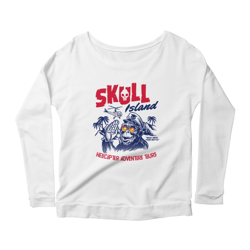 Skull Island Helicopter Adventure Tours Women's Longsleeve Scoopneck  by Gimetzco's Artist Shop