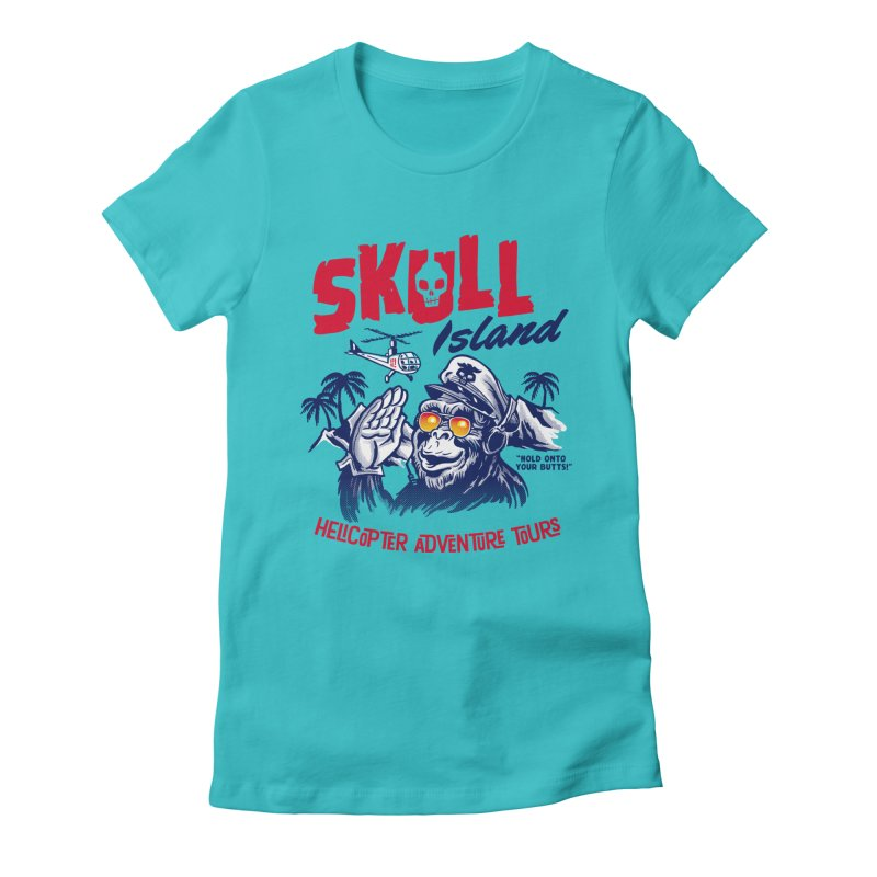 Skull Island Helicopter Adventure Tours Women's Fitted T-Shirt by Gimetzco's Artist Shop