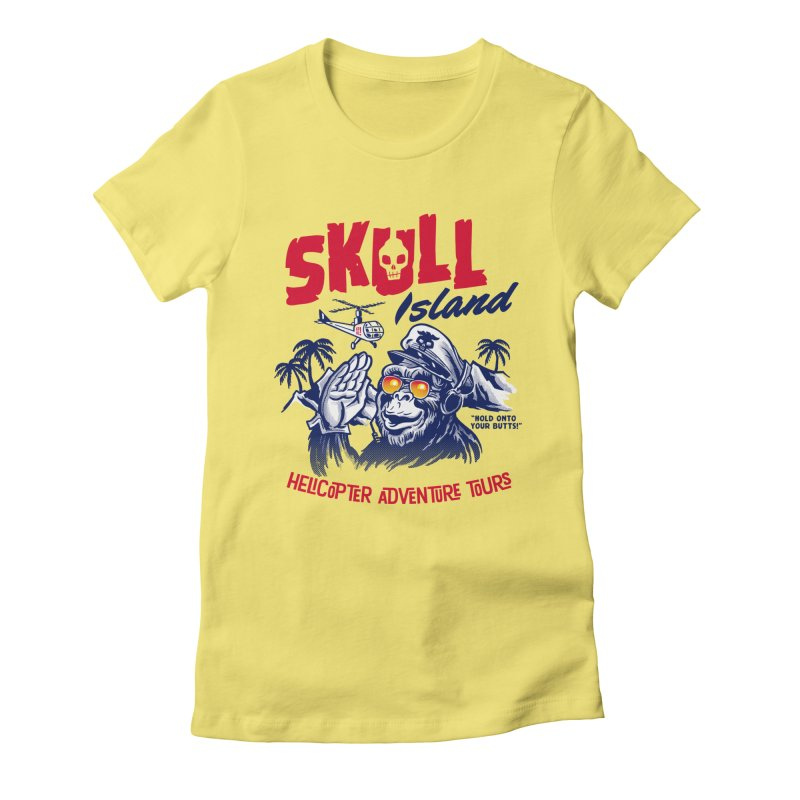 Skull Island Helicopter Adventure Tours Women's Fitted T-Shirt by Gimetzco's Damaged Goods