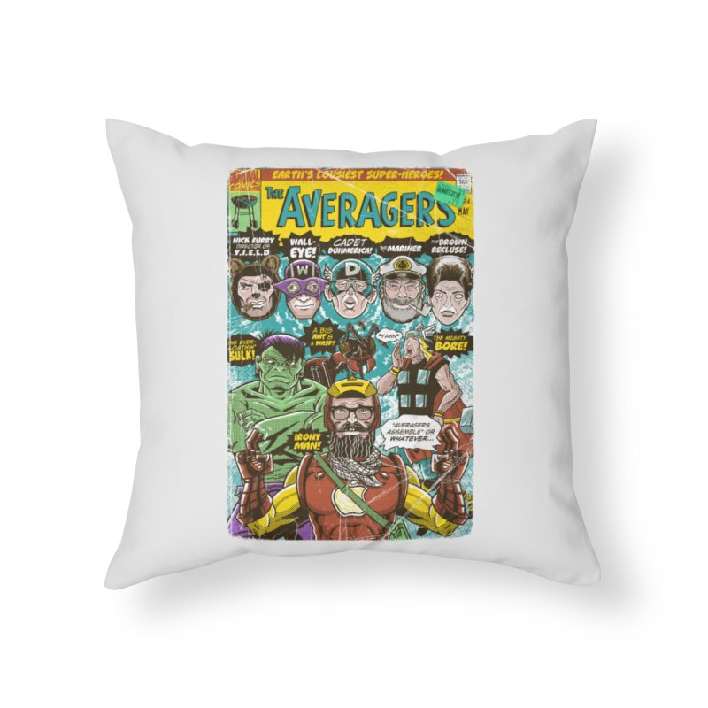 the Averagers Home Throw Pillow by Gimetzco's Damaged Goods