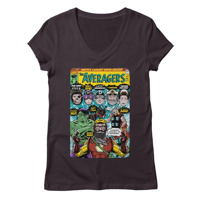 the Averagers Women's Regular V-Neck by Gimetzco's Damaged Goods