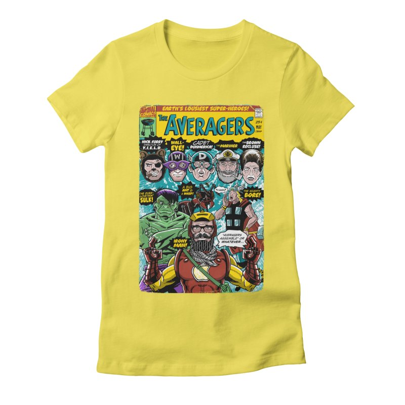 the Averagers Women's Fitted T-Shirt by Gimetzco's Damaged Goods