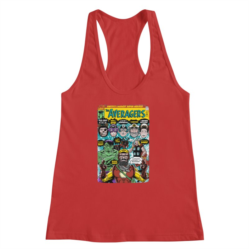 the Averagers Women's Racerback Tank by Gimetzco's Damaged Goods