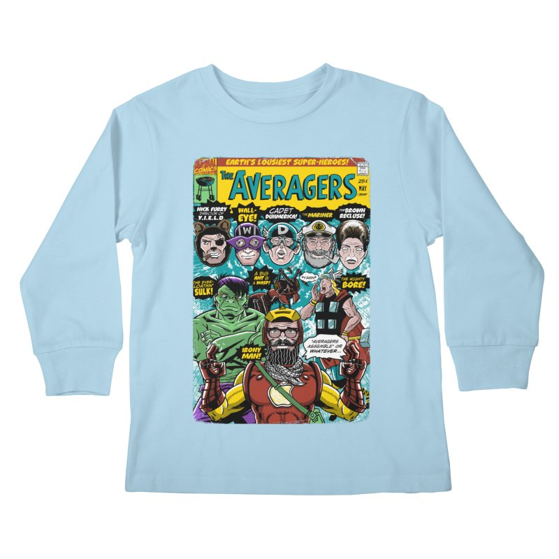 the Averagers Kids Longsleeve T-Shirt by Gimetzco's Damaged Goods