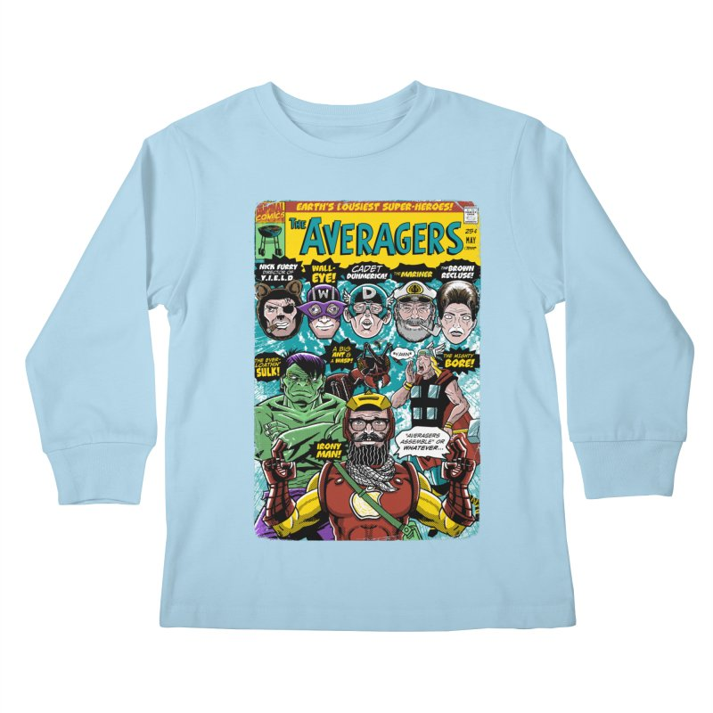 the Averagers Kids Longsleeve T-Shirt by Gimetzco's Damaged Goods